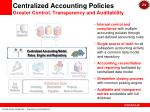 centralized accounting policies greater control transparency and auditability