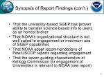 synopsis of report findings con t