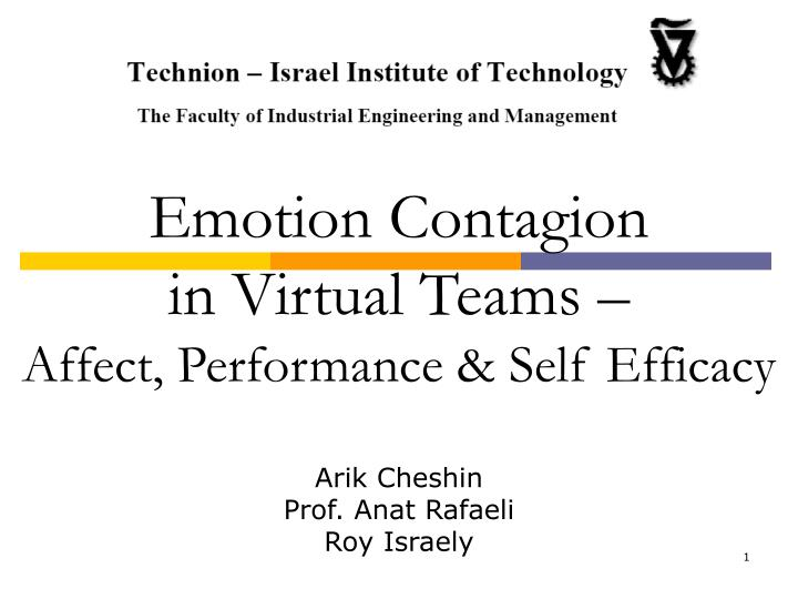 Ppt Emotion Contagion In Virtual Teams Affect Performance