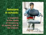 salesians in schools a response to the needs of the young of society and of the church
