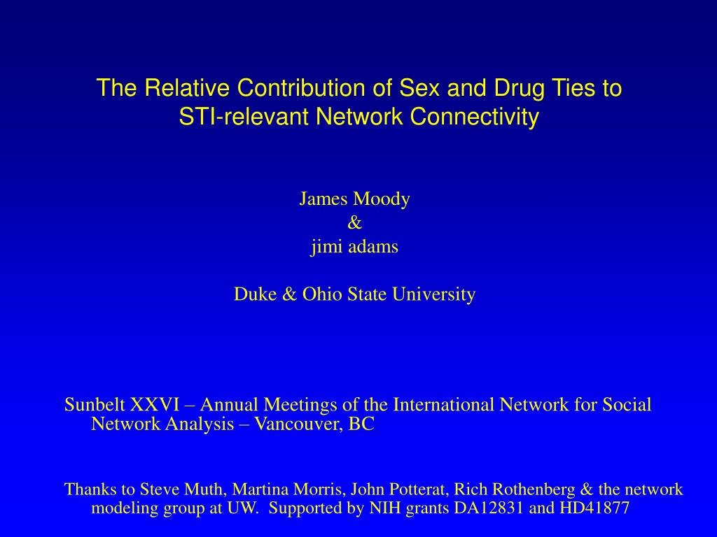 the relative contribution of sex and drug ties to sti relevant network connectivity l.