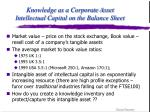knowledge as a corporate asset intellectual capital on the balance sheet