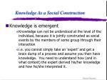 knowledge as a social construction