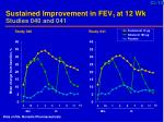 sustained improvement in fev 1 at 12 wk studies 040 and 041