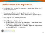 lessons from rio s experience