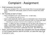 complaint assignment