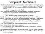 complaint mechanics