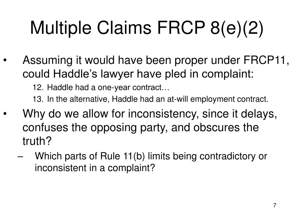 Multiple Claims FRCP 8(e)(2)