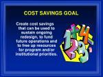 cost savings goal