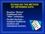 establish the method of obtaining data