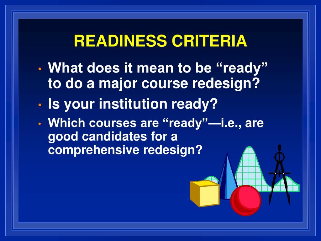 readiness criteria l.