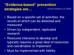 evidence based prevention strategies are