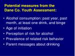 potential measures from the dane co youth assessment