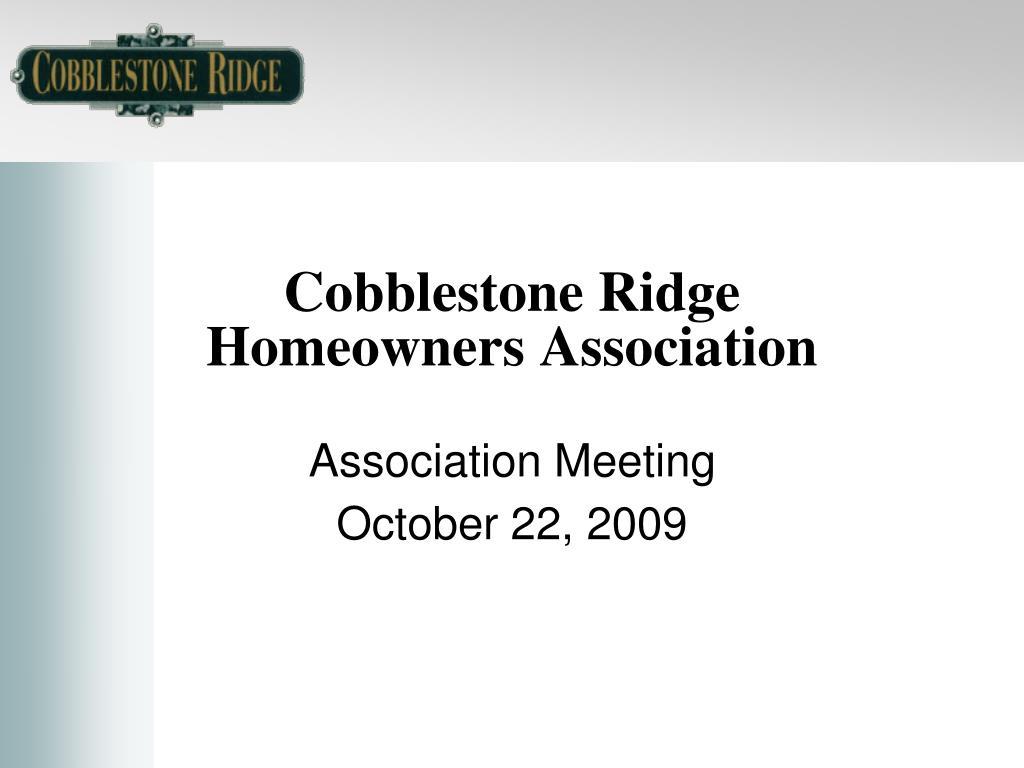 cobblestone ridge homeowners association l.