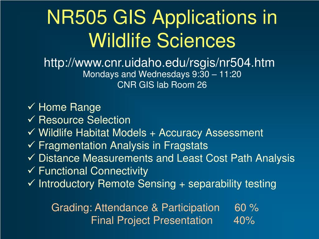 nr505 gis applications in wildlife sciences l.