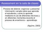 assessment en la sala de clases