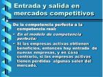 entrada y salida en mercados competitivos