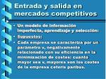 entrada y salida en mercados competitivos106