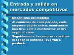entrada y salida en mercados competitivos109