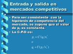 entrada y salida en mercados competitivos111