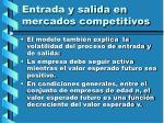 entrada y salida en mercados competitivos113