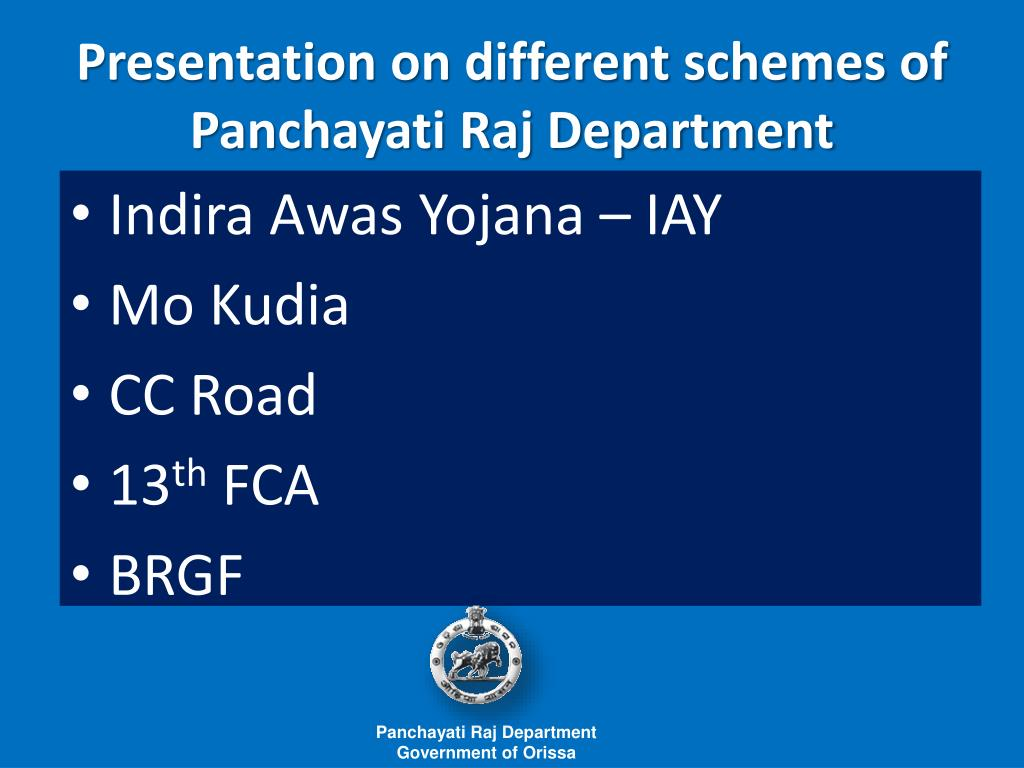 presentation on different schemes of panchayati raj department l.