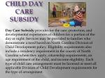 child day care subsidy