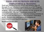 food and nutrition services employment training