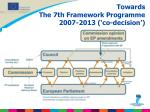 towards the 7th framework programme 2007 2013 co decision