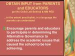 obtain input from parents and educators per no child left behind nm ped