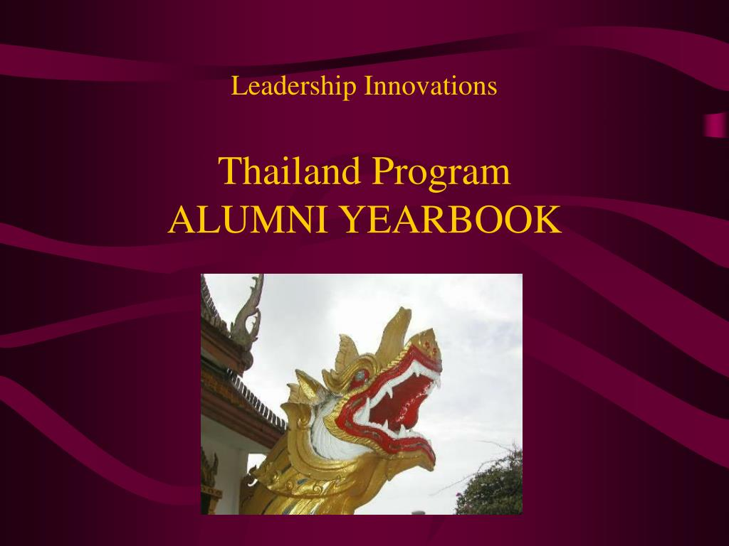 leadership innovations thailand program alumni yearbook l.