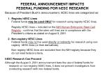 federal announcement impacts federal funding for hesc research