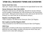 stem cell research terms and acronyms