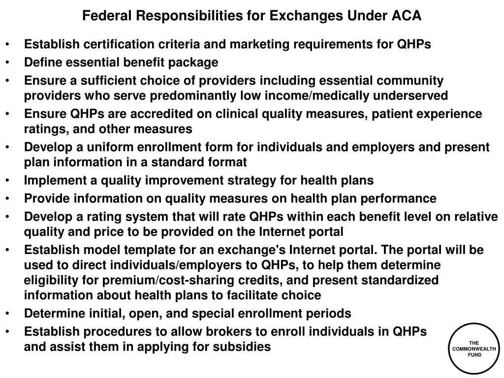 Federal Responsibilities for Exchanges Under ACA