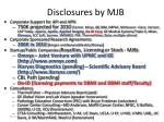 disclosures by mjb