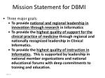 mission statement for dbmi