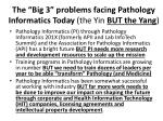 the big 3 problems facing pathology informatics today the yin but the yang