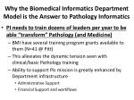 why the biomedical informatics department model is the answer to pathology informatics15
