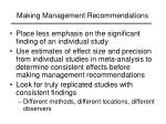 making management recommendations