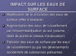 impact sur les eaux de surface