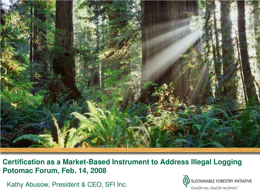 certification as a market based instrument to address illegal logging potomac forum feb 14 2008 l.