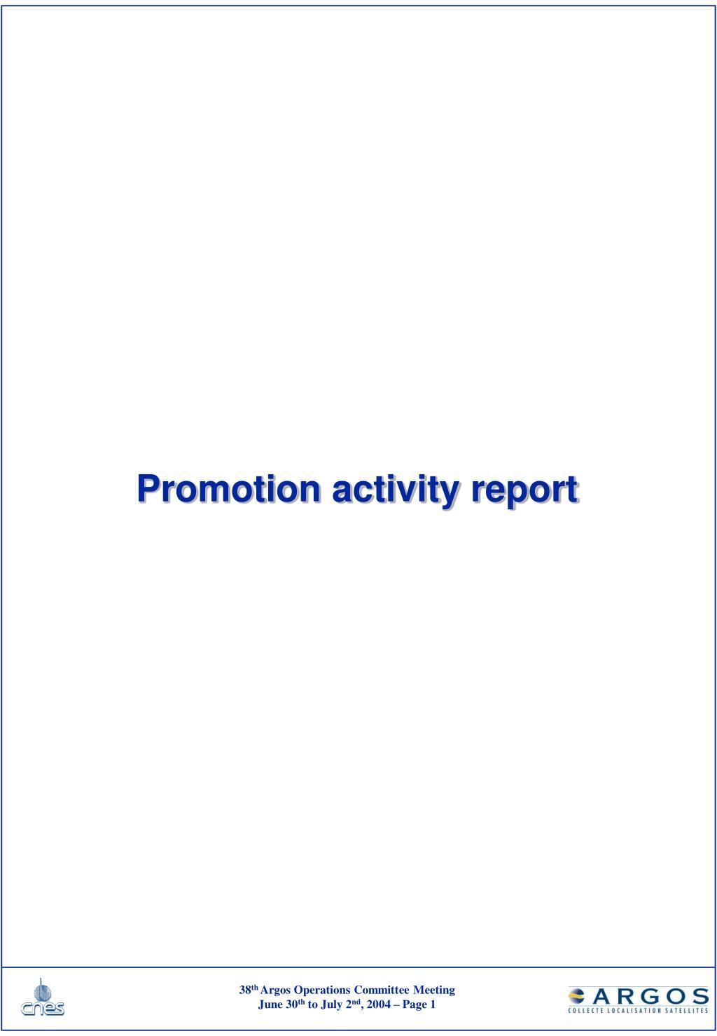 promotion activity report l.