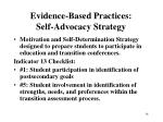 evidence based practices self advocacy strategy