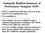 nationally ratified summary of performance template sop