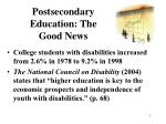 postsecondary education the good news