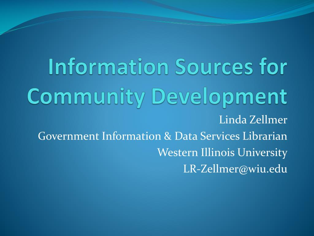information sources for community development l.