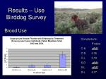 results use birddog survey15