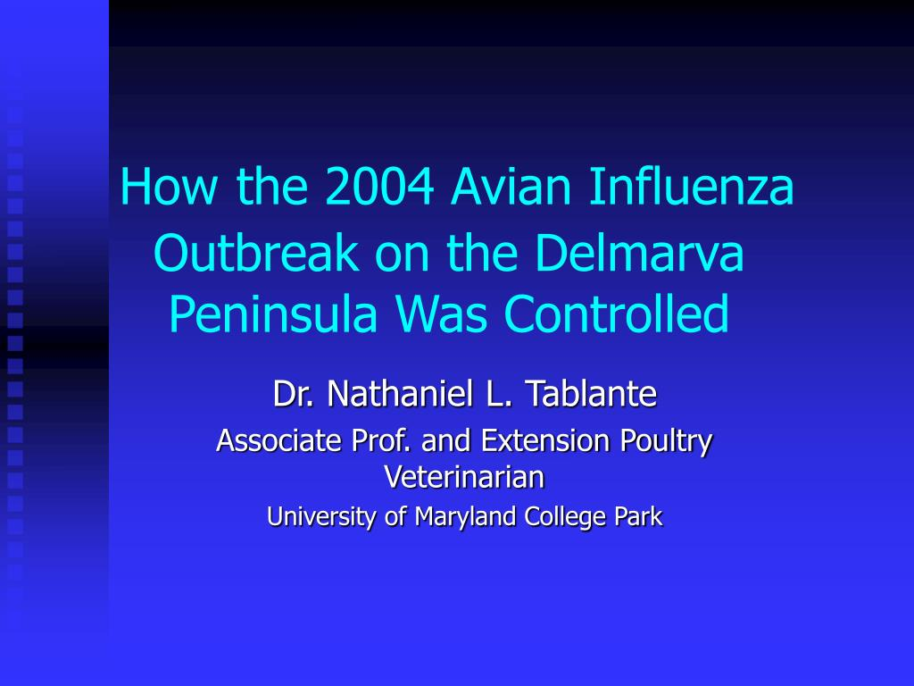 how the 2004 avian influenza outbreak on the delmarva peninsula was controlled l.