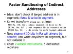 faster sandboxing of indirect addresses