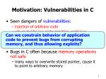 motivation vulnerabilities in c